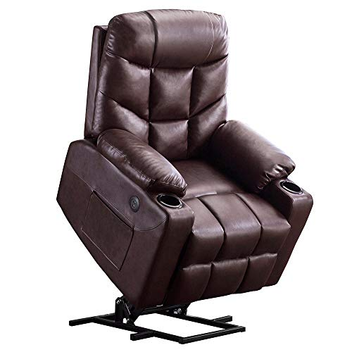 Power Lift Recliner Chair TUV Lift Motor Lounge w Remote Control Dual USB Charging Ports Cup Holders Faux PU Leather Sofa 7288 Dark Brown