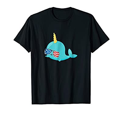 Funny Narwhal Shirt July 4th Funny Kids USA Tee TShirt Gift