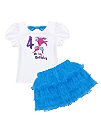 dPois Kids Girls' Poppy Troll 2nd/3rd/4th/5th/6th/7th Birthday Glittery Outfits Short Sleeves T-Shirt with Layered Tutu Skirt