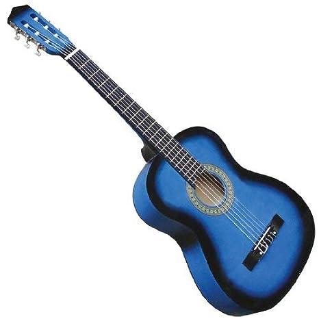 Guitarra española acústica | 4/4, de color azul, con 6 cuerdas | Guitarra clásica, Guitarras, Guitarra flamenca: Amazon.es: Instrumentos musicales