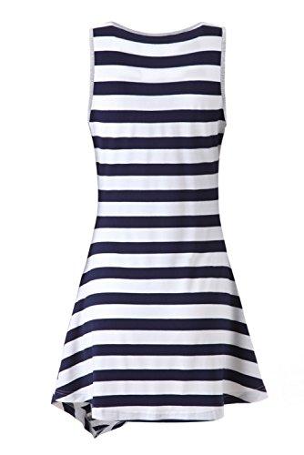 Zattcas Womens Striped Long Sleeve Tunic Top Loose T-shirt Dress (X-Large, Tank-Gray)
