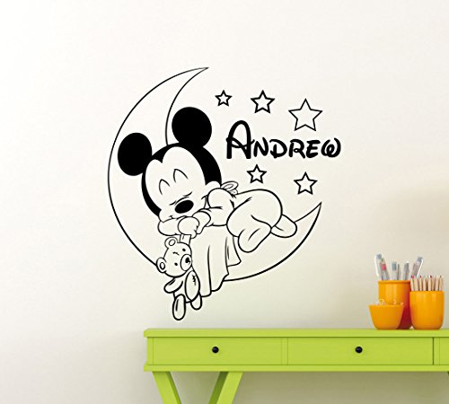 Cool Disney Names (Personalized Custom Mickey Mouse Wall Decal Nursery Custom Baby Name Cartoon Disney Vinyl Sticker Personal Home Nursery Room Interior Art Decor Kids Girl Boy Room Mural Waterproof Vinyl Sticker (34me))