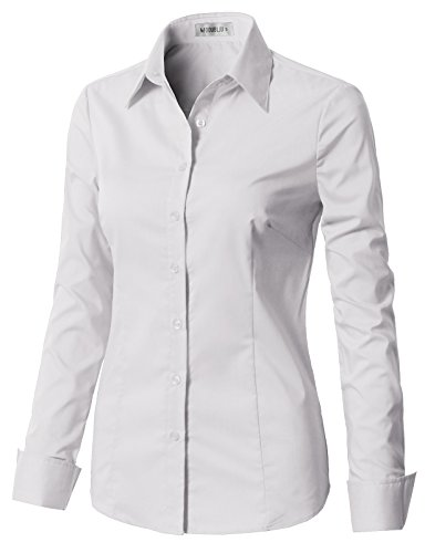(CLOVERY Women's Tailored Long Sleeve Slim Fit Button Down Shirt White XS)
