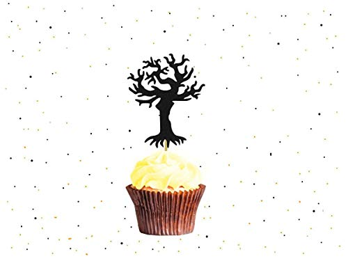 Black Spooky Tree Cake Toppers Glitter Cupcake Topper Halloween Cake Toppers Halloween Party Halloween Decorations ()