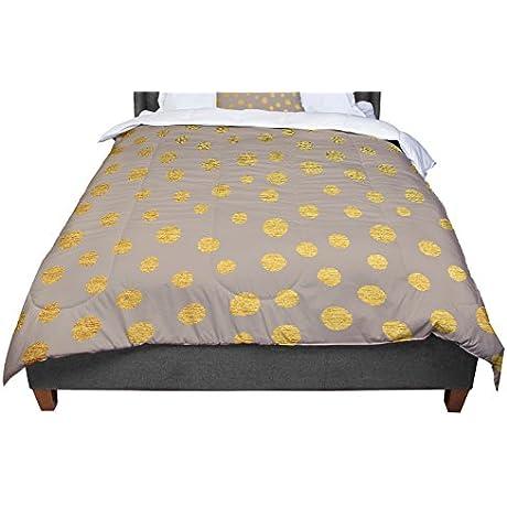 KESS InHouse Nika Martinez Earth Golden Dots Brown Yellow Queen Comforter 88 X 88