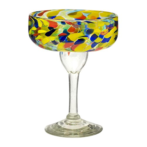 Amici Home, 7MCR362S4R, Carnaval Margarita Drinking Glass, Imbedded Opaque Beads, Recycled Handblown Artisanal Mexican Tabletop Glassware, 15 Ounce Capacity, Set of 4
