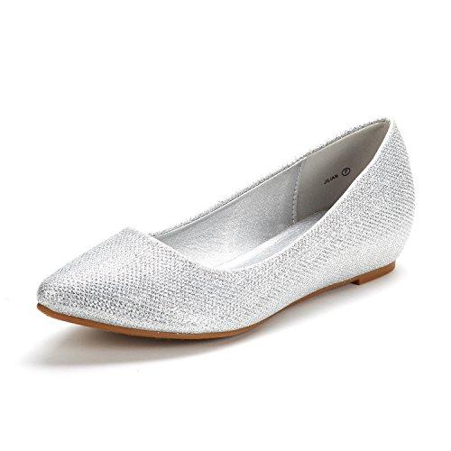 DREAM PAIRS Women's Jilian Silver Glitter Low Wedge Flats Shoes - 8.5 M US