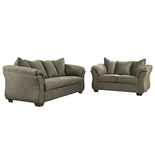Flash Furniture Signature Design by Ashley Darcy Living Room Set in Sage Microfiber (Sage Upholstery Chair Arm)