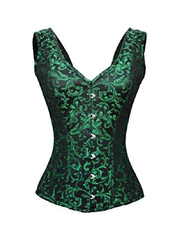 ジェットコンパクト生産的Green Black Brocade Shoulder Strap Goth Burlesque Waist Training Overbust Corset