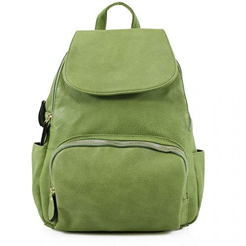 Unisex-Adult Ladies Womens Faux Leather Girls Rucksack Backpack College Uni Gym School Bag UK Green