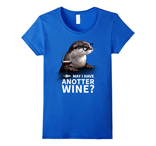 Womens Cute Otter Tshirt for Wine Drinkers and Wine Lover Large Royal - Glases Cute