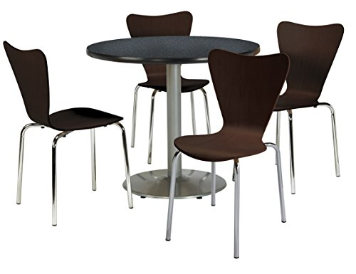 KFI Seating Round Laminate Top Pedestal Table with 4 Espresso Bentwood Café Chairs, 42