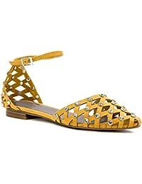 8c08b1a2ddfe52 Chris-01 Pointy Toe Basket Vamp Ankle Strap Flat Sandal Mustard