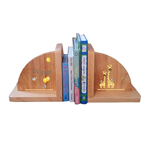 Personalized Giraffe Natural Childrens Wooden Bookends by MyBambino