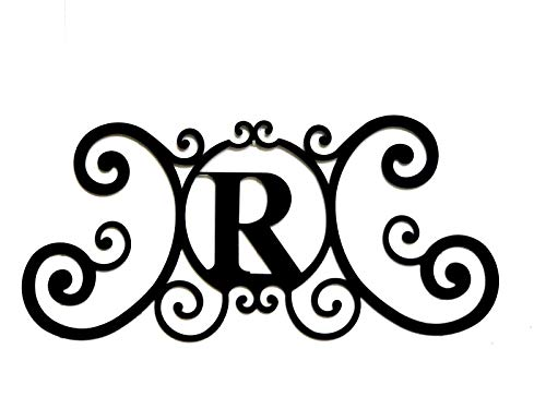 (Bookishbunny Monogram Initial Letter A-Z Wrought Iron Metal Scrolled Door Wall Decoration Plaque Art, 24 x 11 inch 2mm Thick)