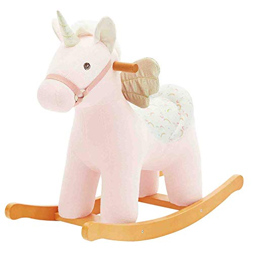 Rocker Rocking Horse (【New】 labebe - Kid Ride Unicorn, Plush Rocking Horse Pink, Unicorn Rocker Wooden for Girl&Boy 1-3 Year Old, Kid Ride On Toy, Toddler Stuffed Riding Animal for Outdoor&Indoor, Child Birthday Gift)