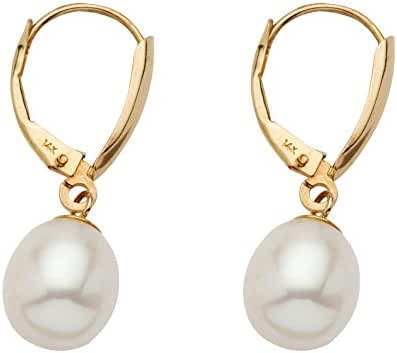 White Cultured Freshwater Pearl Teardrop Earrings in 14k Yellow Gold