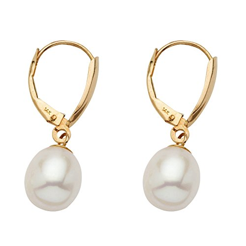 14K Yellow Gold Teardrop Earrings (28x8.5mm) Oval Cut Genuine Cultured Freshwater Pearl 14k Yellow Gold Teardrop Earrings