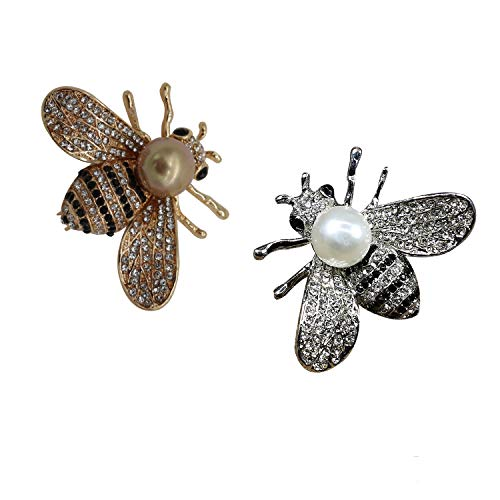 (ZUOZUOYA Lovely Honey Bee Brooches - 2 Pcs Insect Themes with Gold and Silver Tone Brooch Pins - Fashion Mother of Pearl Brooch Pins - Great for Wife,Sisters and)