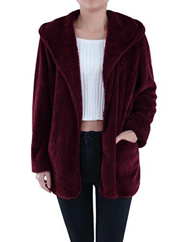 Cropped Tech Outerwear Jacket - Anna-Kaci Lounge & Chill Hooded Fluffy Fleece Comfy Soft Teddy Coat Jacket, Burgundy, Small/Medium