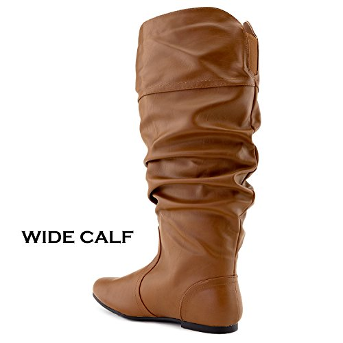 RF OF Boots Vegan Soft FASHION Hidden Tan Calf Wide Pocket Knee High ROOM Women's Pu Slouchy rPn5rq