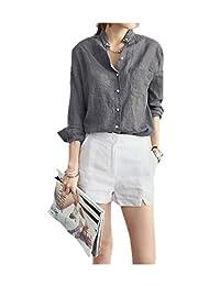 ARJOSA Women's Cotton Linen Blends Pocket Button-Down Long Sleeve Shirt