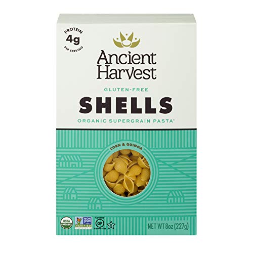 Ancient Harvest Organic Gluten-Free Corn and Quinoa Supergrain Pasta Shells, 8 oz. Box, Plant-Based Pasta with the Same Great Taste and Texture of Traditional Pasta