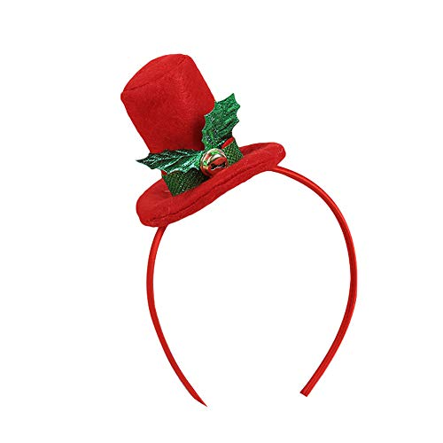 Opeof Christmas Top Hat Headband Headwear Adult Children Hair Hoop Xmas Party Props