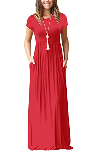 Jennyarn Women's Short Sleeve Long Maxi Summer Casual Dresses Large Red
