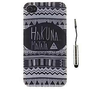 SOL Tribal Carpets with English Letters Pattern TPU Soft Case and Stylus for iPhone 4/4S