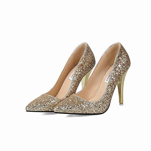 Charm Foot Womens Sequins Pointed Toe Wedding High Heel Pumps Shoes Gold Gxhm5efm
