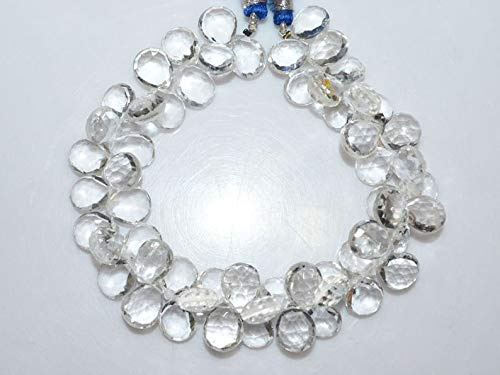 Gems-World Jewelry 1 Strand Natural Rock Crystal Pear Shape Briolette - Rock Crystal Faceted Briolette, 10.5x8.5-11x9 mm, 8