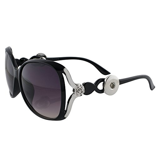Lovmoment New Black Sunglasses Snap with 2 Buttons Fit 18-20mm Snaps Jewelry