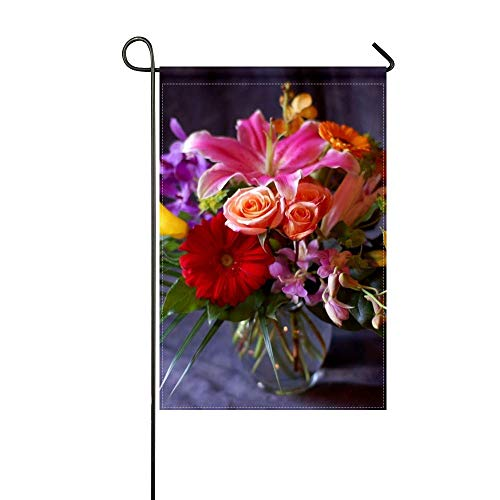 ZLU Garden Flag Gerbera Rose Lily Calla Lilies Orchids Flowers Bouquet Composition Vase 12x18 inches(Without Flagpole)