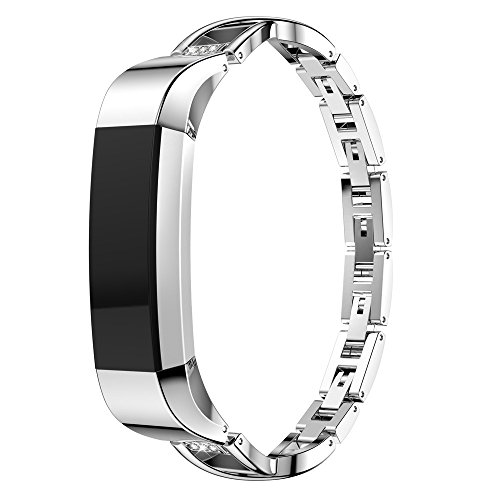Silver Crystal Loop - for Fitbit Alta HR/Alta Bands, TOTGO New Classic&Fashion Replacement Luxury Small Metal Crystal Loop Bracelet Wrist Band Strap Smart Watch Bands for Fitbit, Women Girl 2019 (Silver)