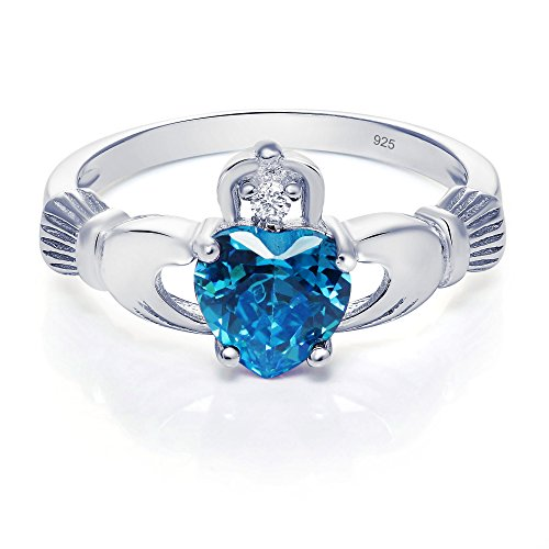 Sterling Silver Claddagh Promise Ring For Her with Simulated Blue Topaz And Cubic Zirconia, 8mm (11) ()