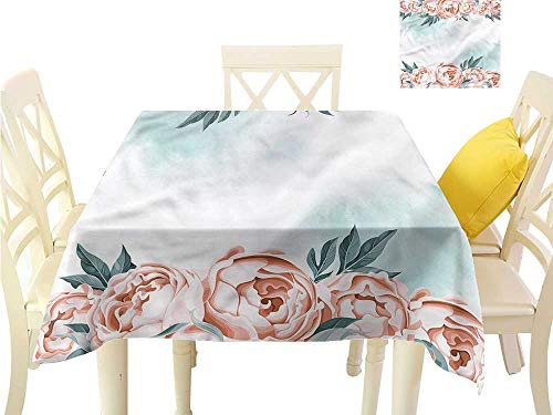 WilliamsDecor Square Tablecloth Vintage,Rose Borders Aquarelle Art Jacquard Tablecloth W 36