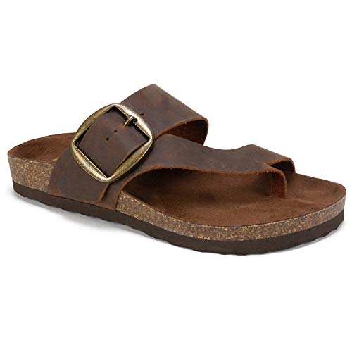 (WHITE MOUNTAIN Shoes Harley Women's Sandal, Brown/Leather, 9 M)