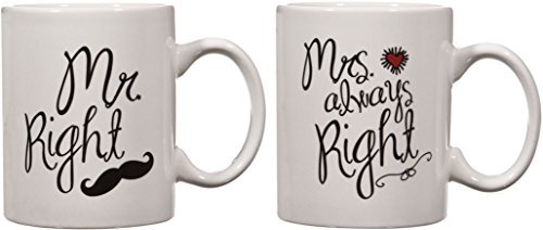 Home Essentials Home Essentials ''mr. Right/mrs. Always Right'' Red Heart And Mustache 15 Oz. Coffee Mugs Cups, Set of 2, , Black