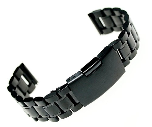 RECHERE Stainless Steel Bracelet Watch Band Strap Straight - Black Pvd Watch