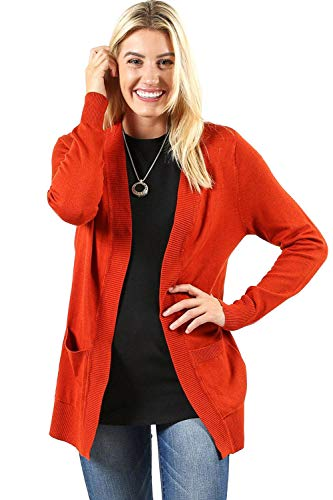 Sportoli Cardigans for Women Open Front Knit Long Sleeve Pockets Sweater Cardigan -Copper (Medium)