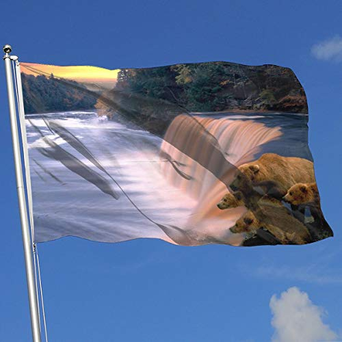 YUANSHAN Home Garden Flag Waterfall Bear Family Polyester Flag Indoor/Outdoor Wall Banners Decorative Flag 3' X 5'