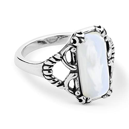 925 Silver Rectangular White Mother of Pearl Ring - Size 7