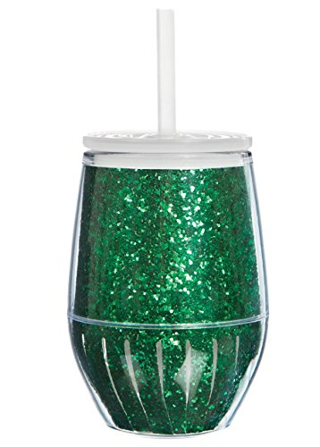 Green Glitter Stemless Acrylic Wine Glass with Lid and Straw - 10 Oz. Double Wall (Diy Monogram Wine Glasses)