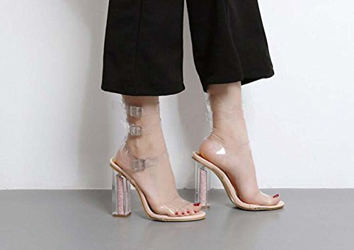 Sandals Crystal Strap Open Shos 40 Hollow Transparent Chunkly Lady Ankel Toe 34 Size Eu Fashion Belt Transparent apricot Buckle Heels Dress wrfnCqx5rP