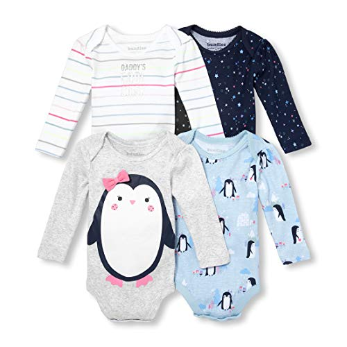 The Children's Place Baby Girls 4 Pack Bodysuits, Cosmic Light, 0-3MONTHS ()