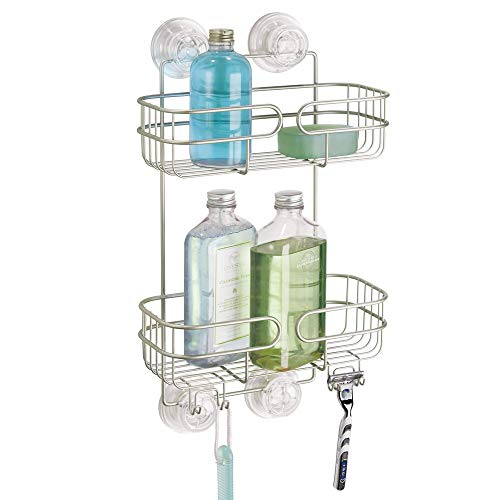 mDesign Power Lock Ultra Suction Bathroom Shower Caddy for Shampoo, Conditioner, Soap, Razors - 2 Tiers, Satin