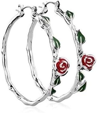 [해외]Botreelife 빈티지 레드 로즈 쉐 클래식 서클 라 지 후프 심플 귀걸이 / Botreelife Vintage Red Rose Shape Classic Circle Large Hoop Simple Earrings