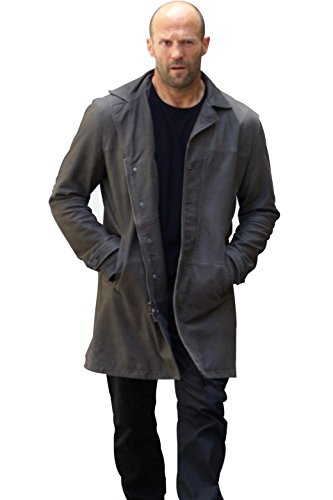 Jason Statham Costume Gift Ideas Fate of The Furious Gray Real Leather Outwear Coat For Him M - Costume Jason Statham Transporter