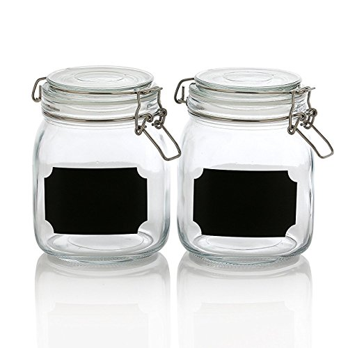 Set of 2, 32 Ounce Clear Airtight Canister Set with Chalkboard Labels, Glass Jars for Cereal, Flour, Pantry Storage Jars